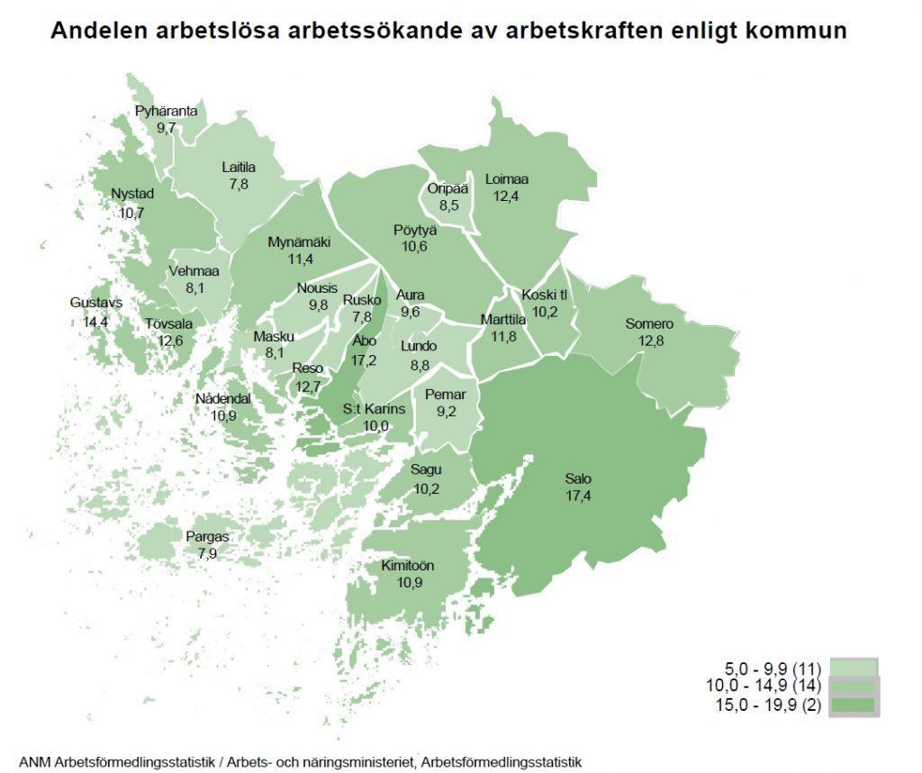 Arbetslöshetsgraden i kommunerna i Egentliga Finland. Källa: NTM-centralen/http://www.temtyollisyyskatsaus.fi/graph/tkat/tkat.aspx?ely=03